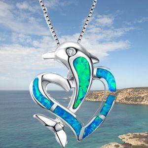 BLUE FIRE OPAL & TOPAZ DOLPHIN IN A HEART NECKLACE